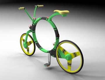Cykeln uppfälld - en ganska normal cykel med det utmärkande draget att  'hålet' i ramen är cirkelrunt.