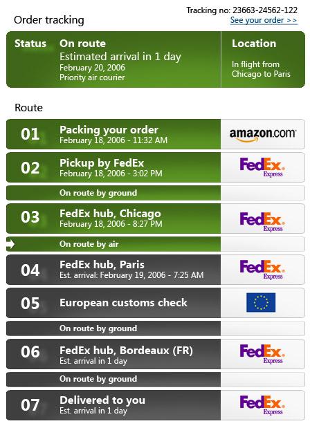 Alternativ utformning av paketspårning, fokuserad på det som är väsentligt för användaren: om paketet kommer i tid eller är försenat.