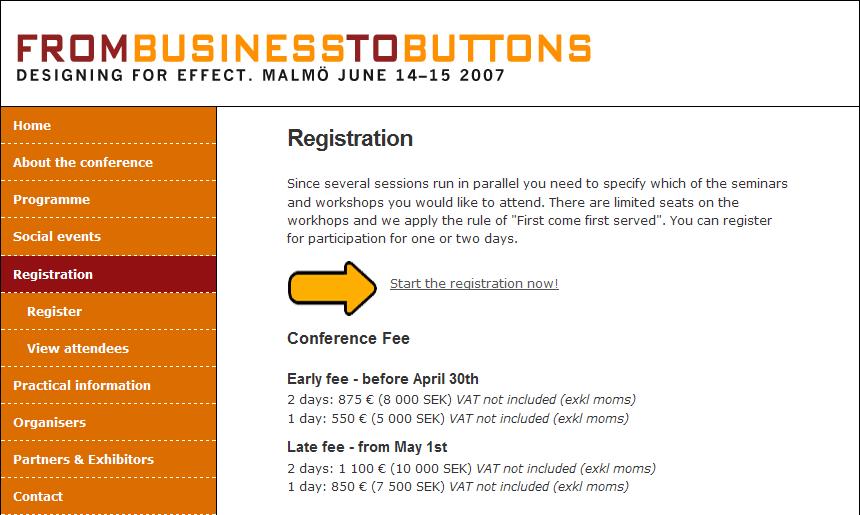 Anmälningsformulär med två alternativ: Före 30 april, och från och med 1 maj.