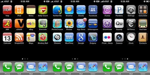 iPhone-ikoner sorterade i färgordning.
