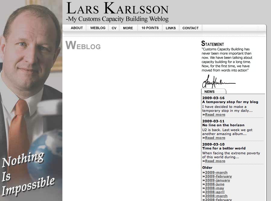 Skärmdump av blogg med det stolta temat 'Nothing Is Impossible', men inget innehåll.