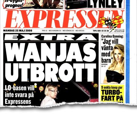 Expressens förstasida, med bild på en kvinna med en frisyr som lite liknar Wanjas som irriterat skyndar sig bort.