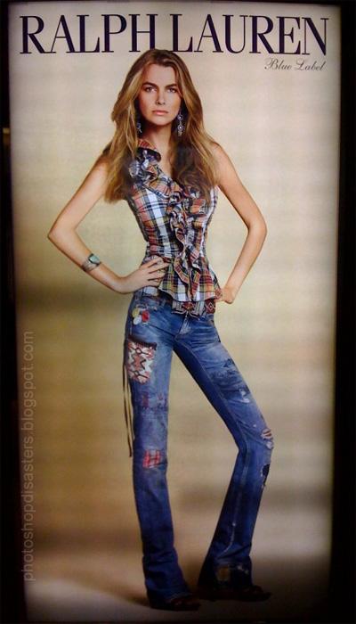 Ralph Lauren-annons med kvinna som photoshopats bortom mänskliga proportioner.