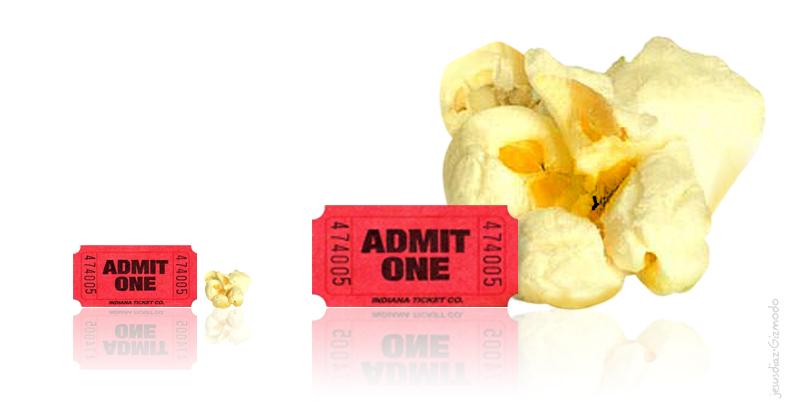 Bild som visar relationen mellan priset för popcorn och biobiljetten 1929 respektive 2009.