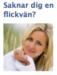 Annons för dating-site, med rubriken 'Saknar dig en flickvän?'.