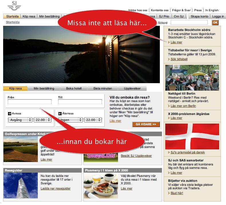 Skärmdump av startsidan, som visar att informationen om tågomläggningen finns långt bort från bokningsformuläret.