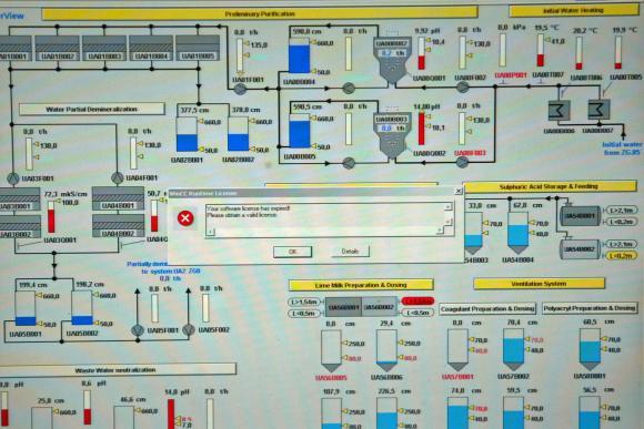 Felmeddelande mitt på skärm för att styra ett kärnkraftverk.