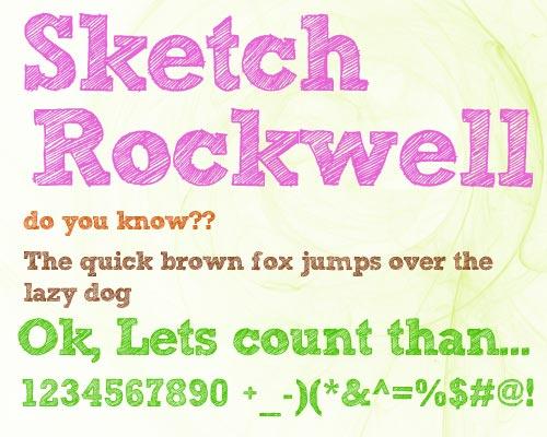Typsnittsprov för Sketch Rockwell.