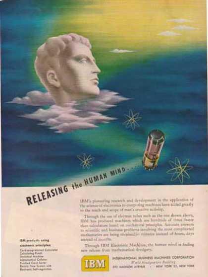 Annons för radiorör, med texten 'Releasing the Human Mind'.