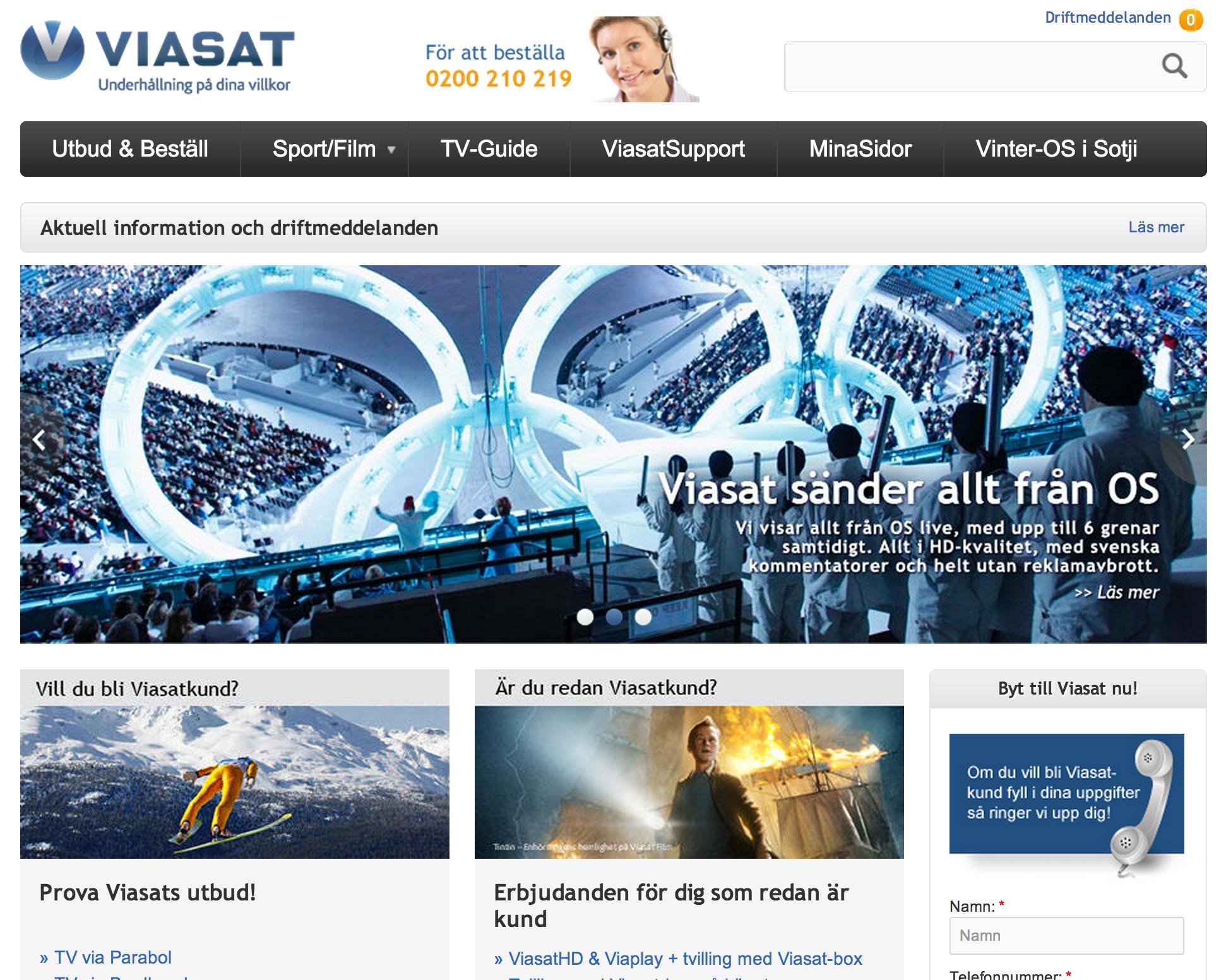 Viasat – domineras av blått och vitt