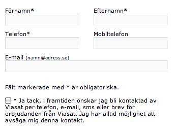 Viasats kontaktformulär.