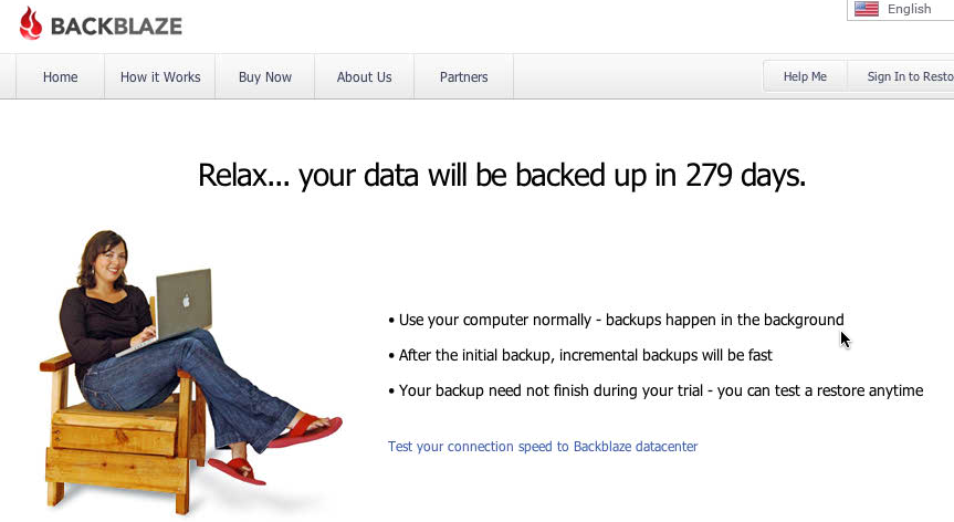 Relax. Your data will be backed up in 279 days.